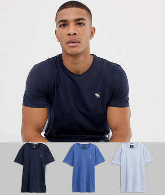 989a8feb Abercrombie & Fitch 3 pack crew neck t-shirt icon logo in blues