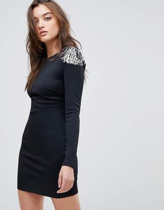 Asos DESIGN Embellished Shoulder Bodycon Open Back Mini Dress