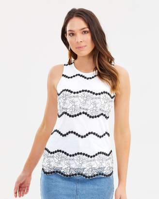 Dorothy Perkins Two-Tone Lace Shell Top