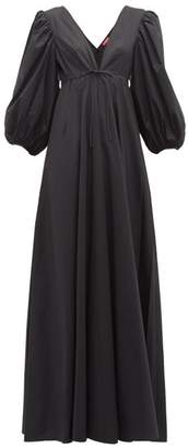 STAUD Amaretti Puff Sleeve Cotton Poplin Maxi Dress - Womens - Black