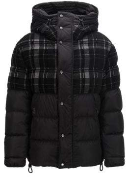 BOSS Hugo Hooded down puffa jacket woven checked panel 36R Black