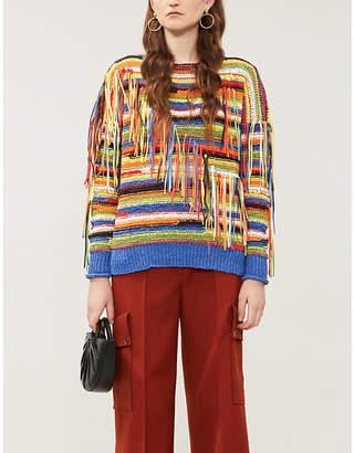 Stella McCartney Fringed-appliqué boat-neck knitted jumper