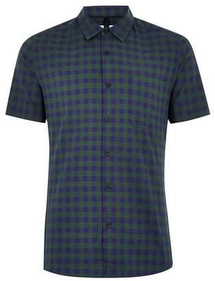 Topman Mens Multi Blue and Green Gingham Stretch Skinny Shirt