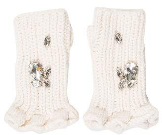 Thomas Wylde Embellished Wool Fingerless Gloves