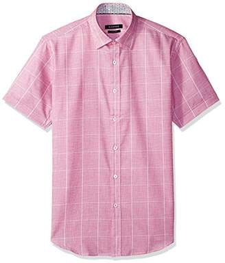 Bugatchi Men's Short Sleeve Fitted Pointed Collar Checkered Shirt