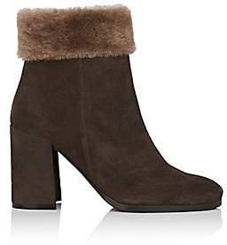 Barneys New York Women's Shearling-Trimmed Suede Ankle Boots - Brown