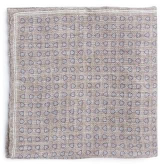 Brunello Cucinelli Geometric Print Linen Blend Pocket Square - Mens - Beige