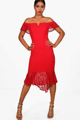 boohoo Lace Frill Off the Shoulder Midi Dress