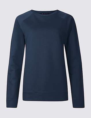 M&S Collection Pure Cotton Round Neck Long Sleeve Top