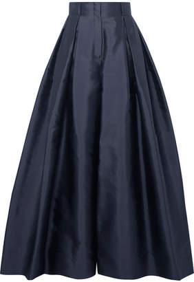 The Row Garcia Silk-satin Wide-leg Pants - Midnight blue