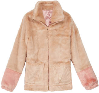 Jessica Simpson Big Girls Colorblocked Reversible Faux-Fur Jacket