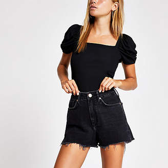 River Island Black Annie washed high waist denim shorts