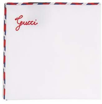 Gucci Striped Edge Cotton Pocket Square - Mens - White Multi