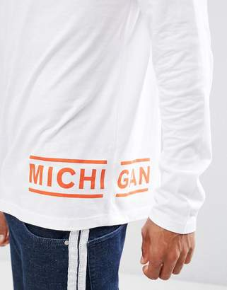 Asos Long Sleeve T-Shirt With Michigan Hem Print