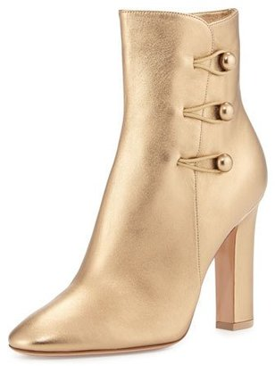 Gianvito Rossi Savoie Metallic Button-Loop Ankle Boot, Gold $1,145 thestylecure.com