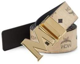 MCM Men's Logo-Print Leather Belt - Beige