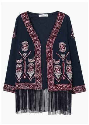 MANGO Fringed embroidered jacket