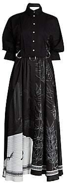 Cédric Charlier Women's Long Sleeve Button-Down Printed Dress