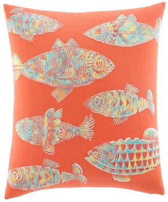 Tommy Bahama Home Batic Fish Sunset Orange Throw Pillow
