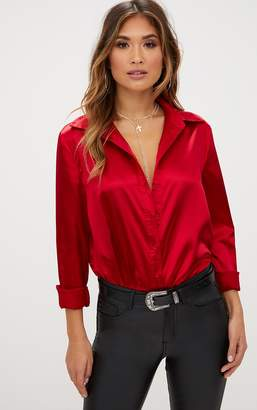 PrettyLittleThing Champagne Satin Button Front Shirt