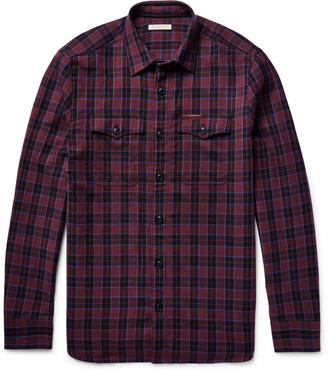 Burberry Brit Slim-Fit Checked Virgin Wool-Blend Shirt $385 thestylecure.com