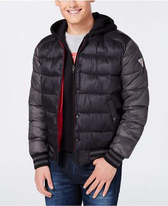 GUESS Men Baseball Snap-Front Puffer Jacket