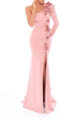 Tarik Ediz Floral Evening Gown