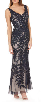 JS Collections V-Neck Sleeveless Leaf-Embroidered Multicolor Gown