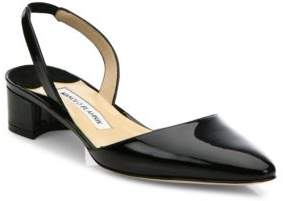 Manolo Blahnik Aspro Patent Leather Block Heel Slingbacks