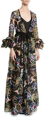 Diane von Furstenberg Puff-Sleeve Floral Maxi Wrap Dress