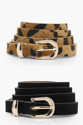 boohoo 2 Pack Leopard And Suedette Belt