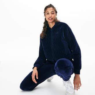Lacoste Women's Chevron-Stitch Velour Cropped Varsity Jacket