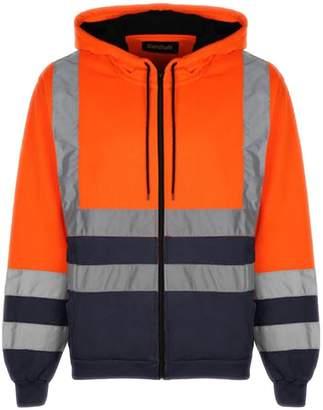 28291d03402219 Standsafe Mens Hoodie Hi Vis Zipper Hi Visibility Safety Hooded Zip  Sweatshirt Work Jacket Top EN471