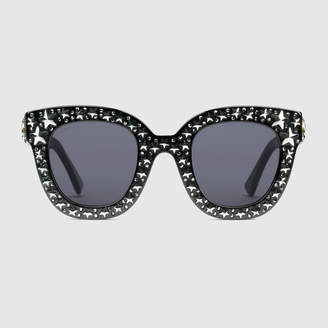 0bde1ae3a64 Gucci Cat eye acetate sunglasses with stars
