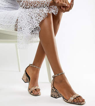 Asos DESIGN Wide Fit Honeydew block heeled sandals in snake print