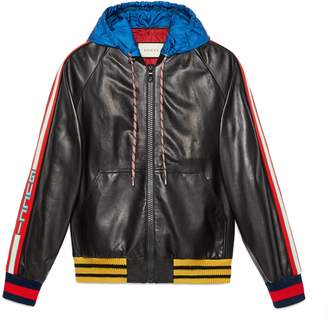 Gucci stripe leather bomber with hood