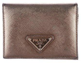 pradaPrada Metallic Saffiano Wallet