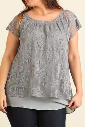 Umgee USA Grey Plus Lace Top