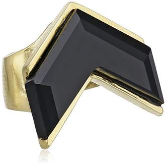 Wouters & Hendrix Women's Yellow Gold Plated 925 Sterling Silver Onyx Ear Cuff