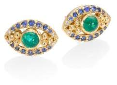 Temple St. Clair Evil Eye Diamond, Emerald, Blue Sapphire& 18K Yellow Gold Stud Earrings