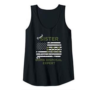 Womens Proud Sister of a Bomb Disposal Expert EOD Distressed Flag Tank Top