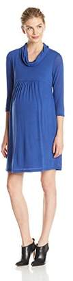 Three Seasons Maternity Women's Maternity 3/4 Sleeve Cowlneck Solid Dress