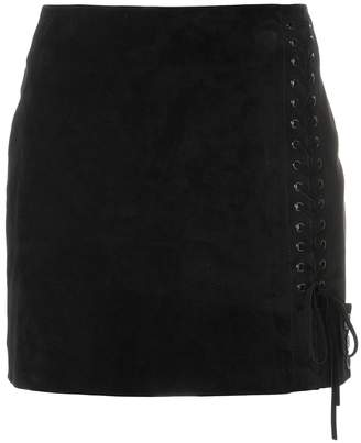 Saint Laurent side lace-fastened fitted skirt