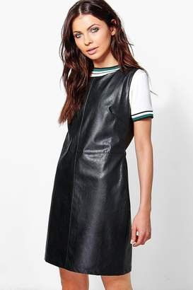 boohoo Ariela Faux Leather A-Line Pinafore Dress