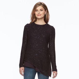 Women's Apt. 9® Asymmetrical Sequin Crewneck Sweater $50 thestylecure.com