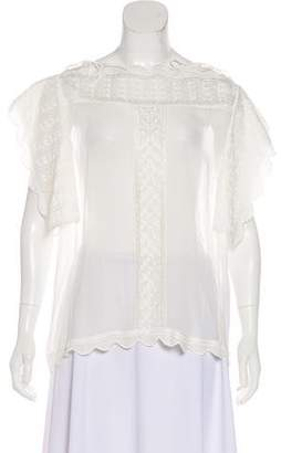 Etoile Isabel Marant Embroidered Cold-Shoulder Top