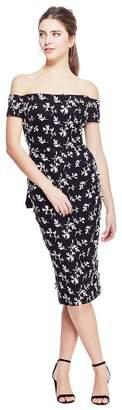 Lela Rose Floral Embroidered Tulle Off The Shoulder Bow Back Dress