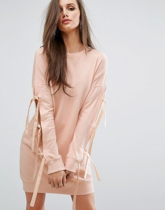 Missguided Bow Sleeve Sweat Dress $38 thestylecure.com