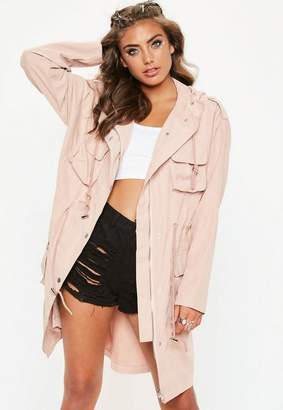 Missguided Nude Oversized Hooded Parka Jacket