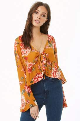 Forever 21 Floral Split-Front Chiffon Top